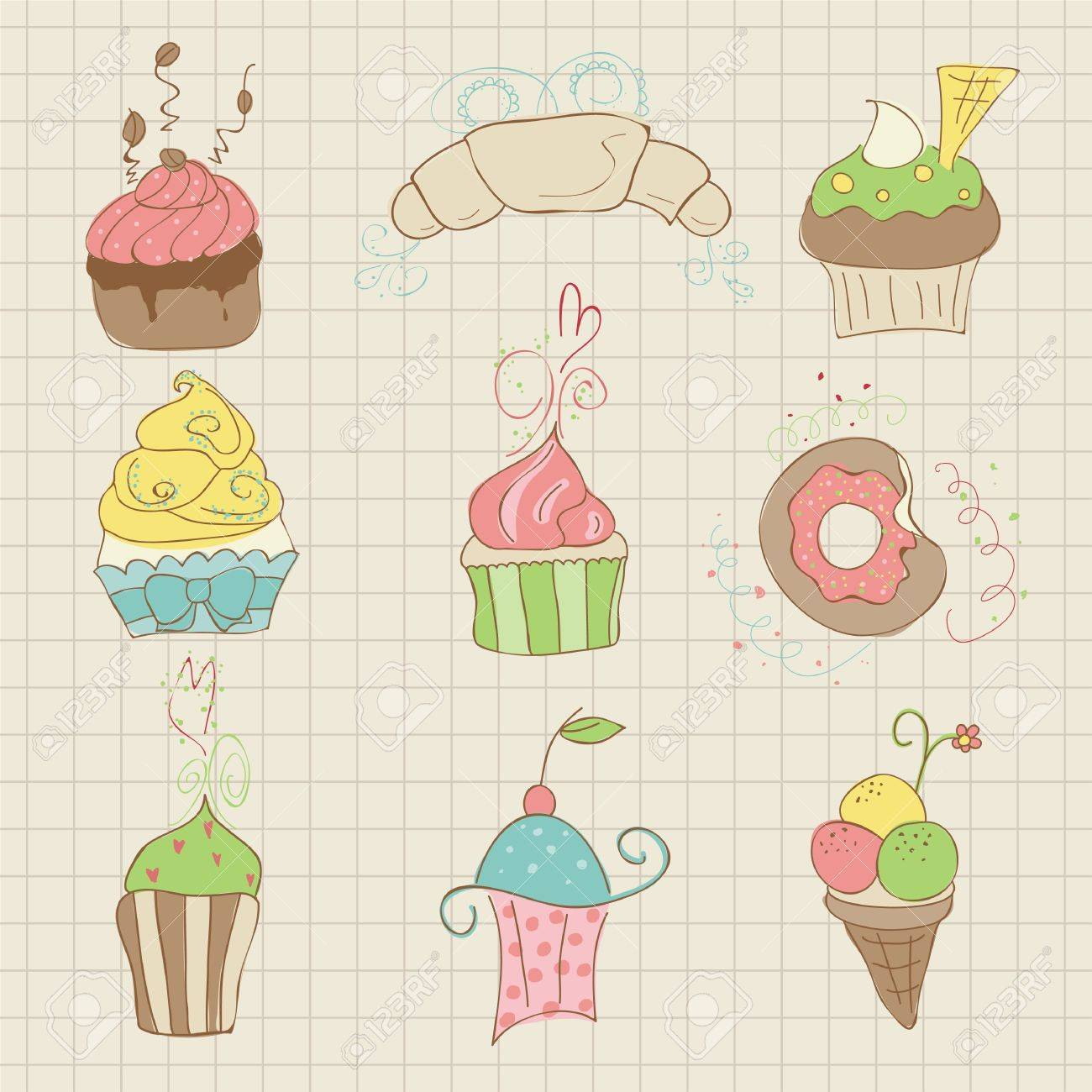 Set of Cute Cupcakes and Desserts -  for design, scrapbook, invitation Stock Vector - 10662887
