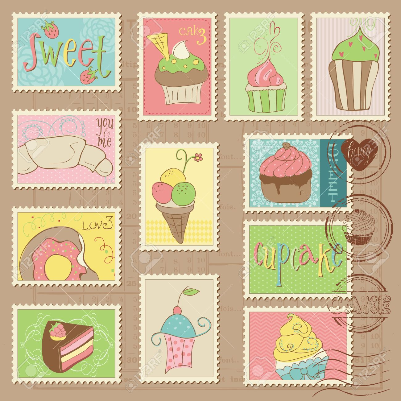 Sweet Cakes and Desserts Postage Stamps Stock Vector - 10662883