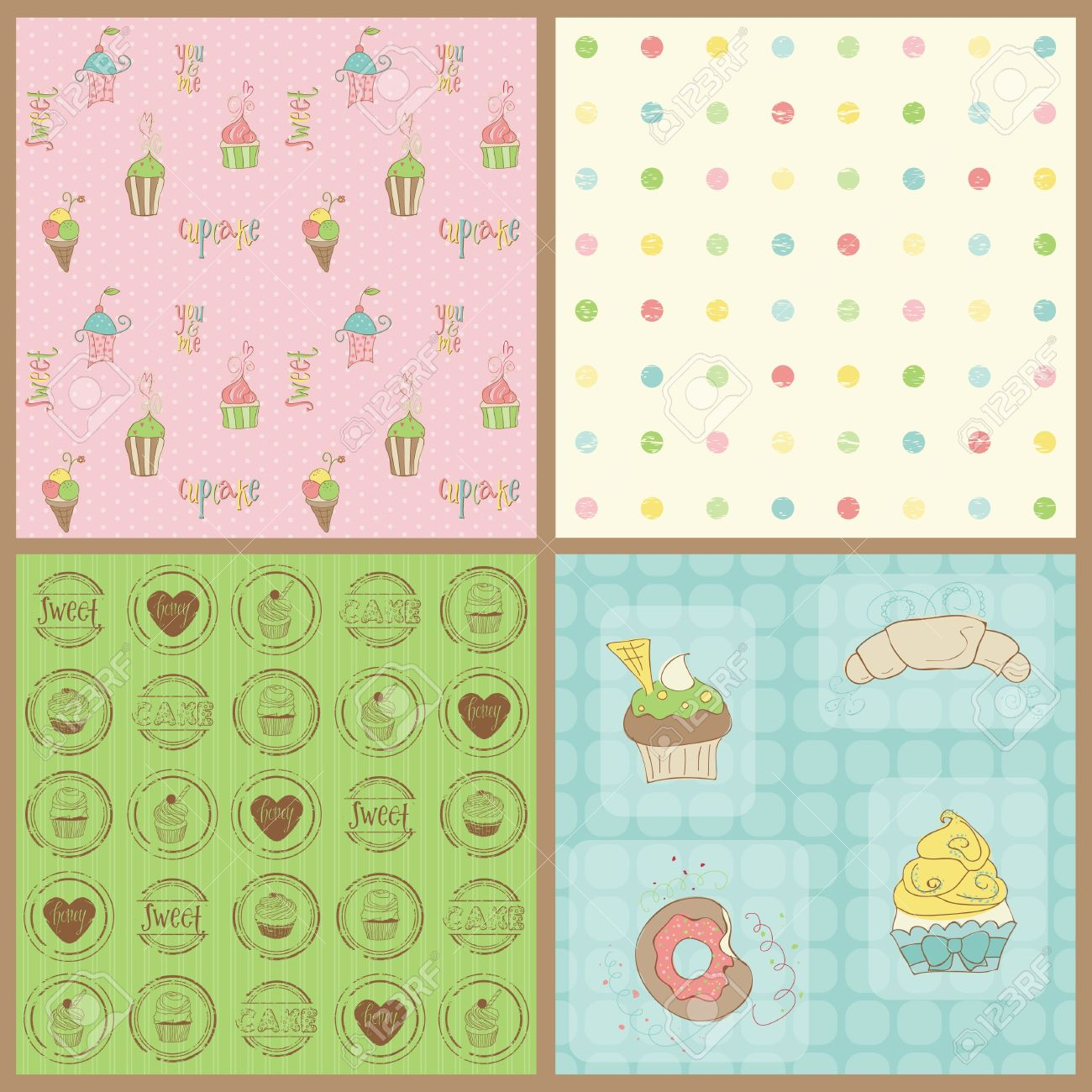 Set of Beautiful Cupcakes Backgrounds - in vector Stock Vector - 10662888