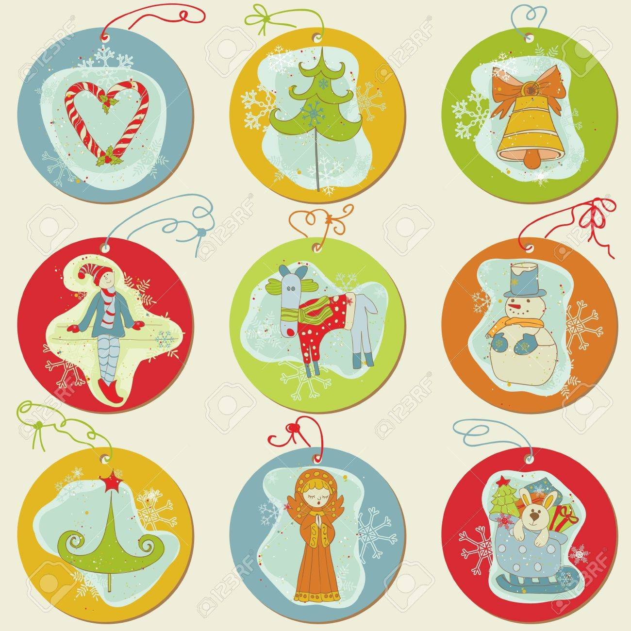 Christmas Tags - design elements for scrapbook, invitation, greetings Stock Vector - 11211340