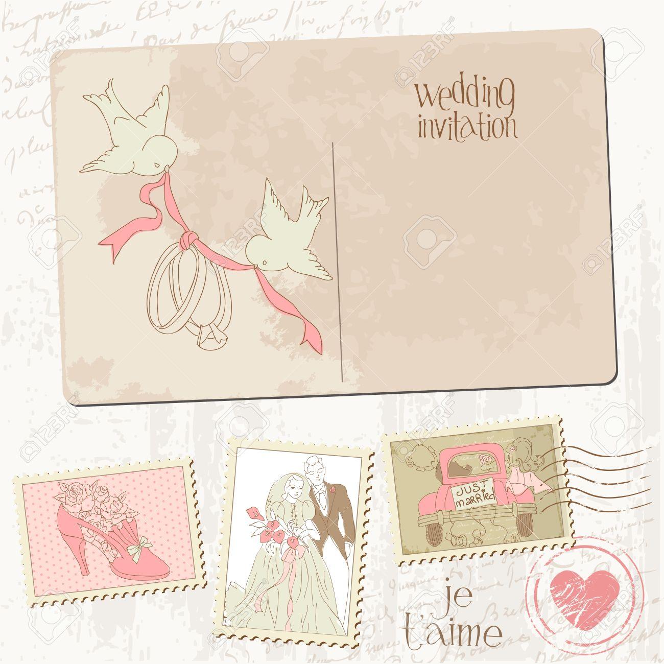 Vintage Postcard And Postage Stamps - For Wedding Design, Invitation ...