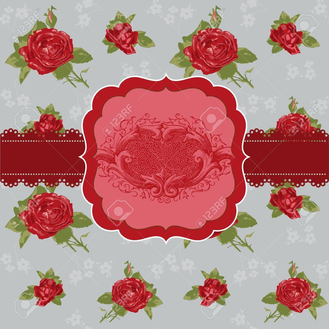 Vintage Flower Card - for invitation, congratulation, wedding in vector Stock Vector - 11480509