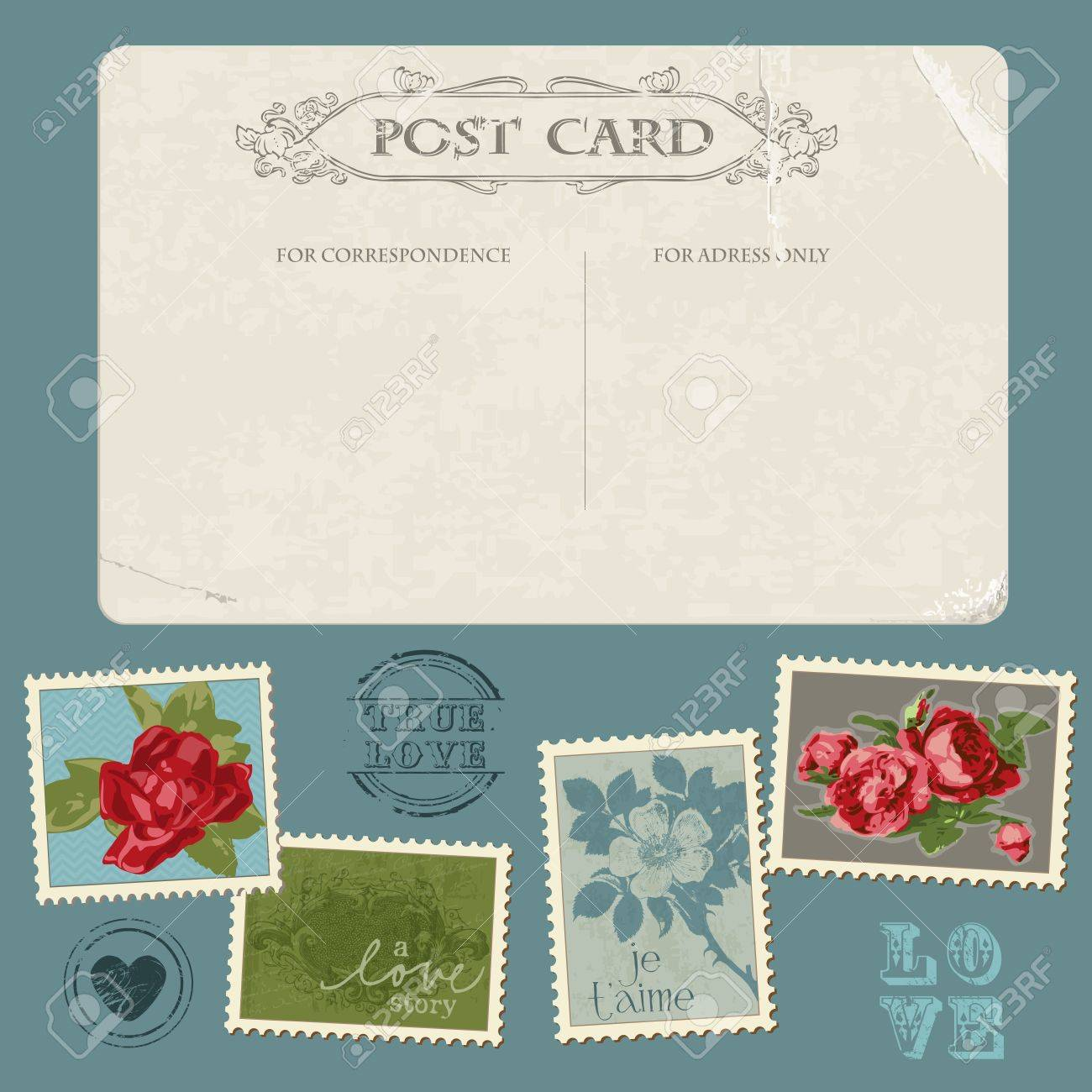 Vintage Postcard with Flower Stamps - for invitation, congratulation in vector Stock Vector - 11480550