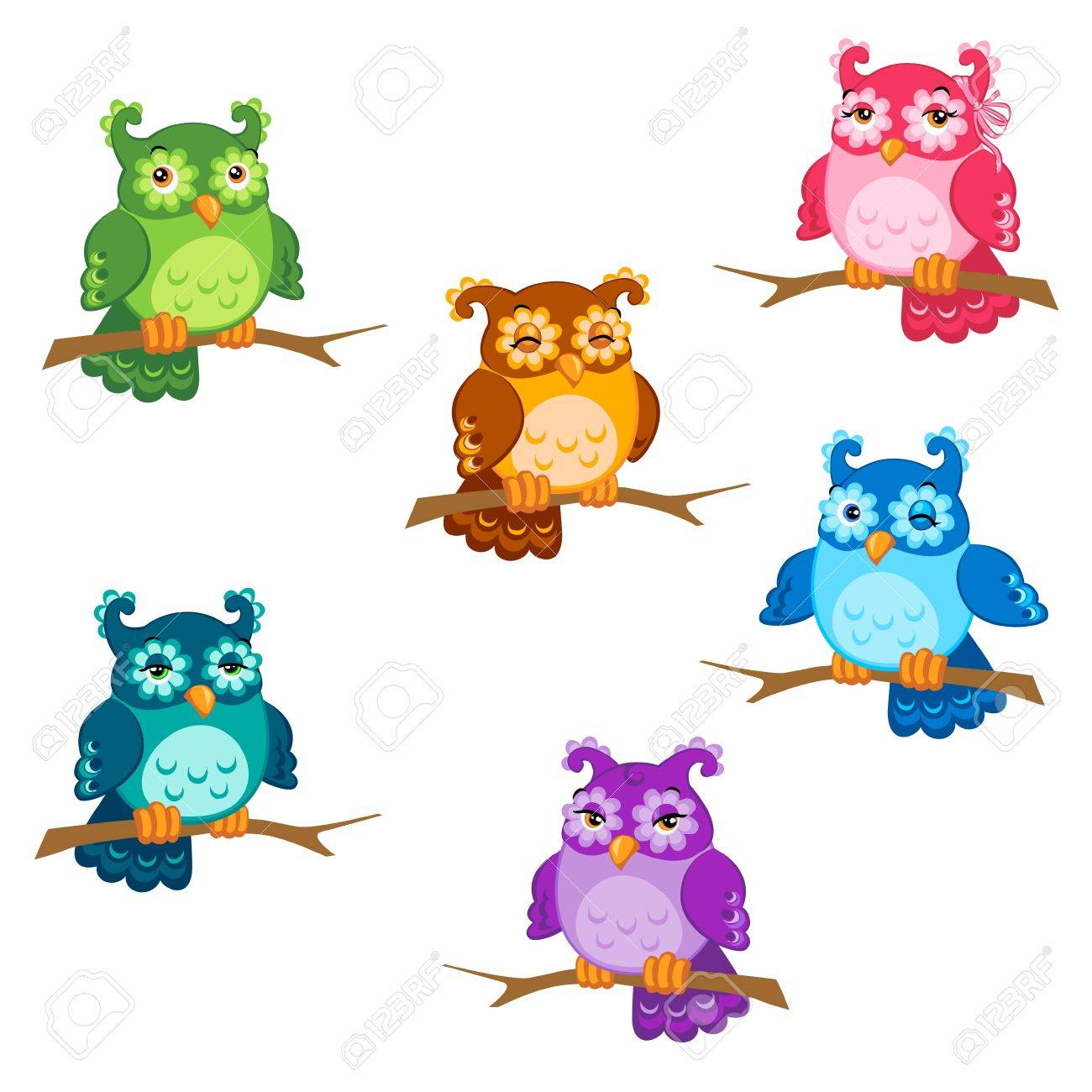 Set of cute six cartoon owls with various emotions in vector Stock Vector - 11889652