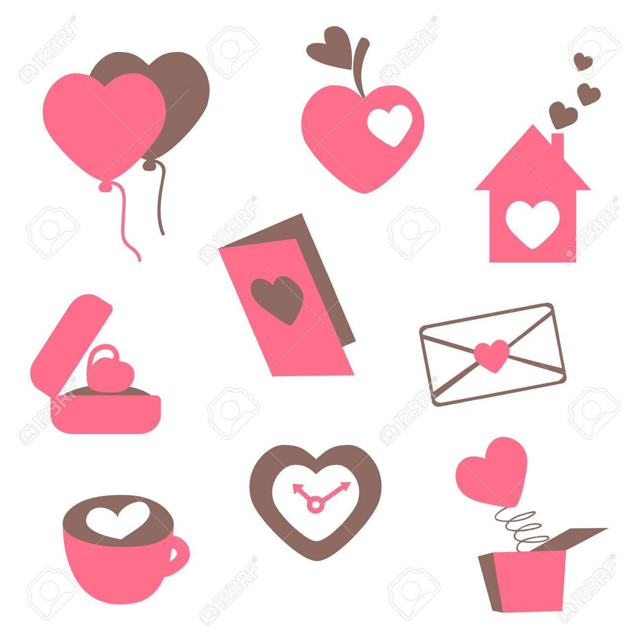 Liebe Symbole Fur Karten Zum Valentinstag Einladung Hochzeit