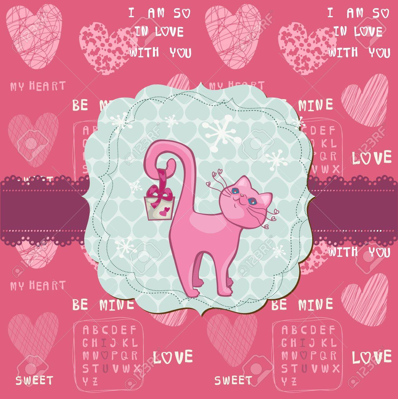 Cute Love Card With Cat For Valentines Day Greetings Scrapbook