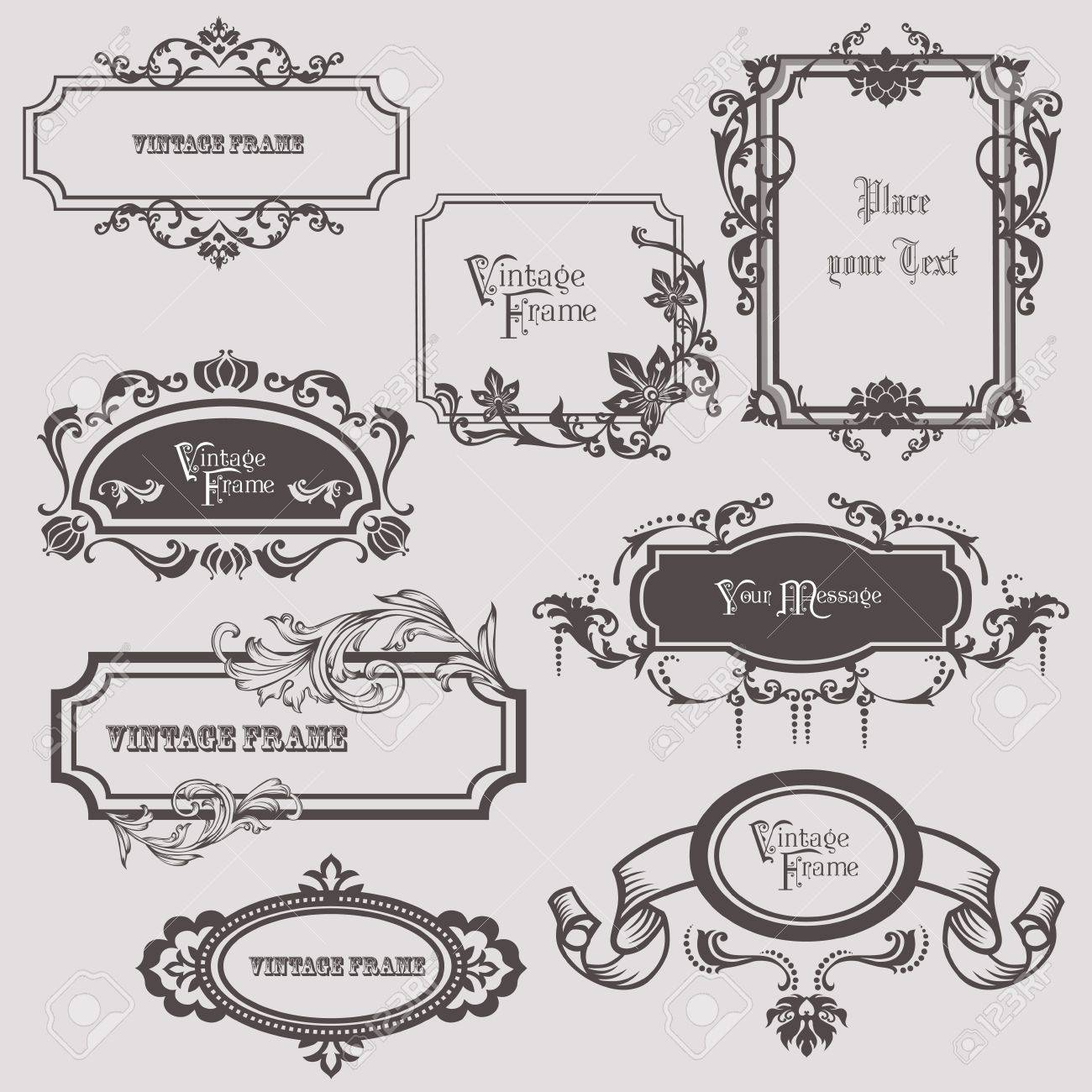 Vintage frames and design elements - with place for your text Stock Vector - 11975052