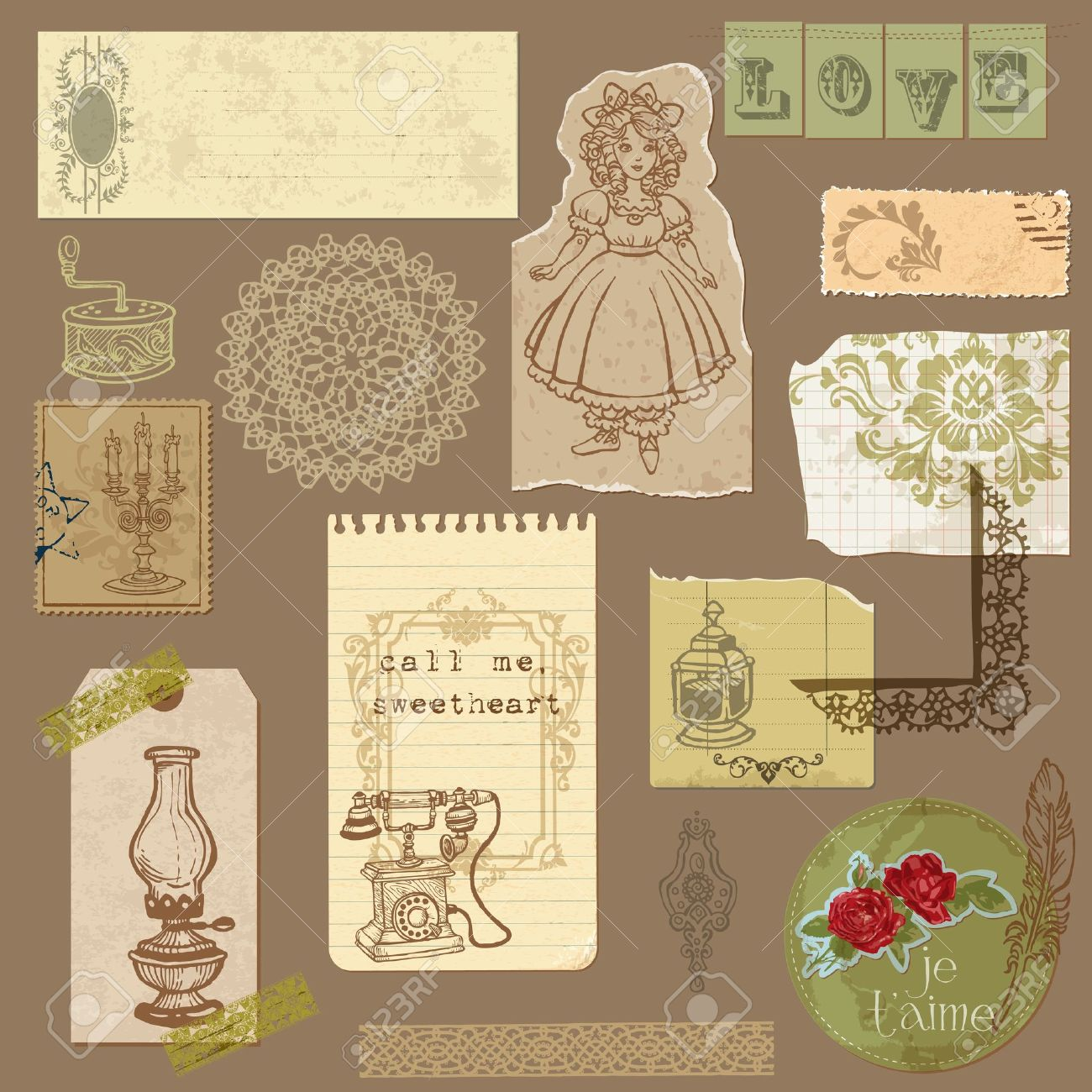 Scrapbook paper design - Set Of Old Paper With Vintage Goods For Your Design And Scrapbook Stock Vector