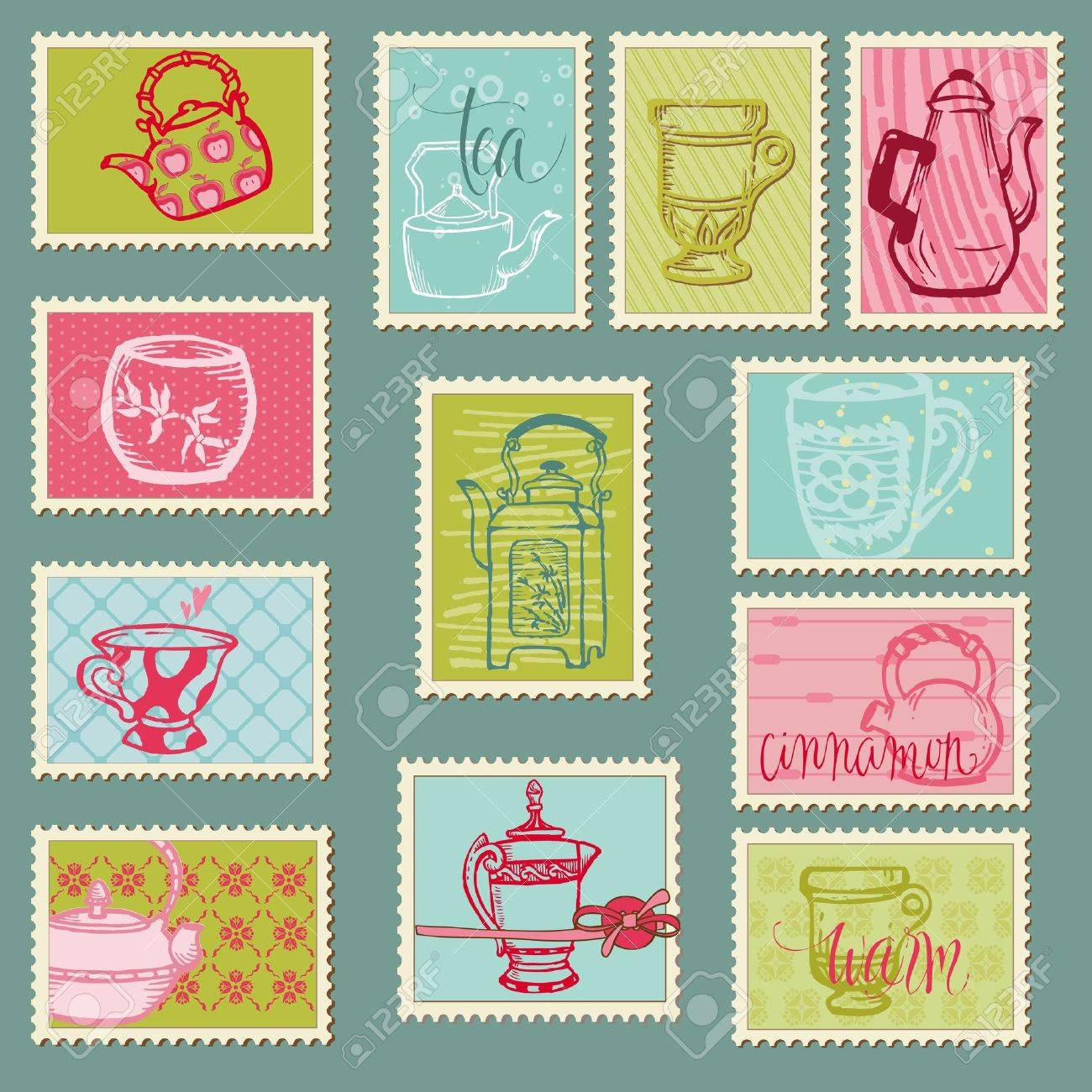 Funny Teapots and Cups Postage Stamps - for design, invitation, congratulation, scrapbook Stock Vector - 12185890