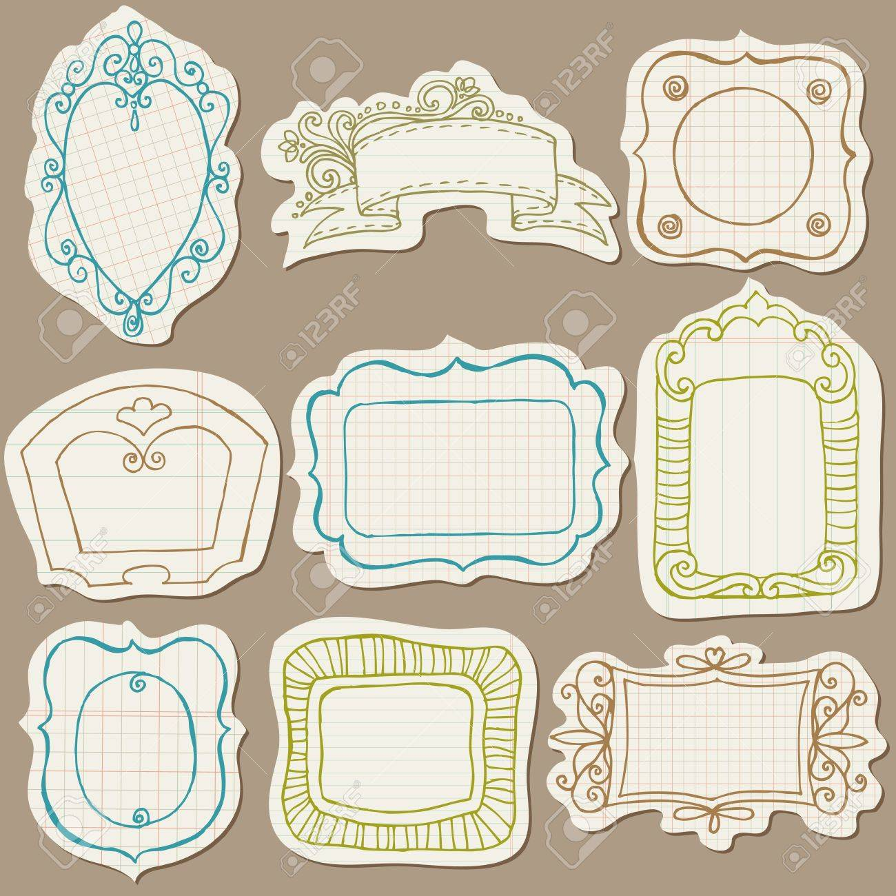 Set of Doodle Frames on torn paper - with Flower Elements Stock Vector - 12185898