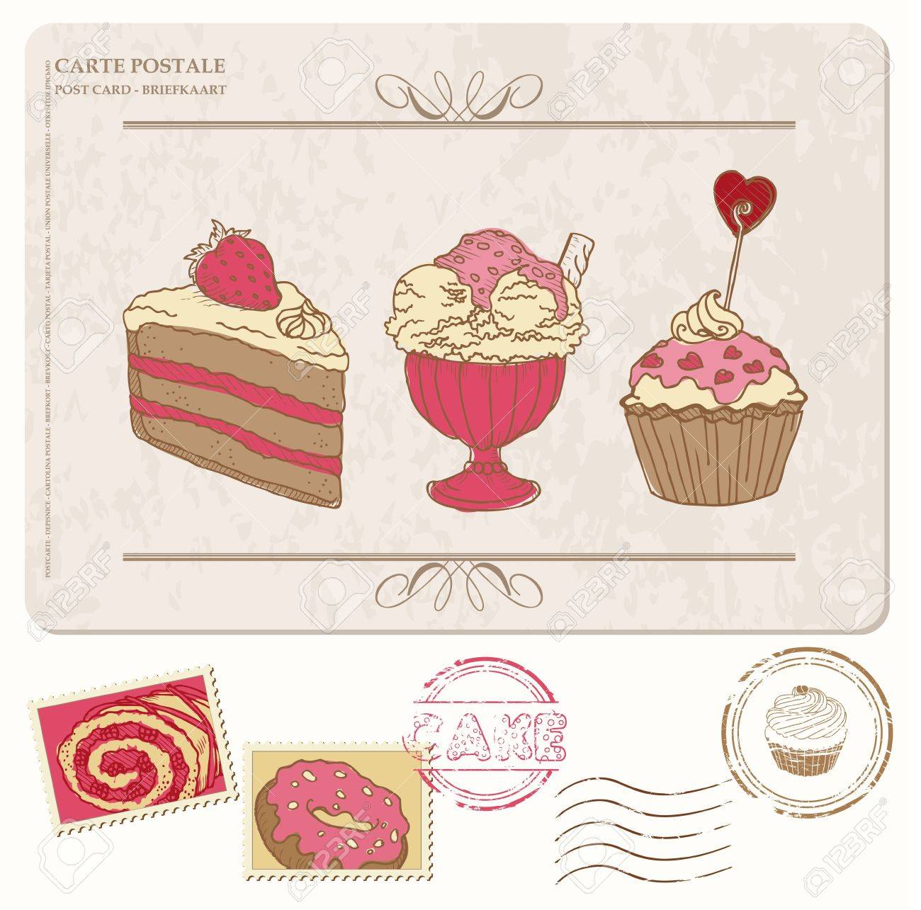Set of cupcakes on old postcard with stamps - for design and scrapbooking Stock Vector - 12185929