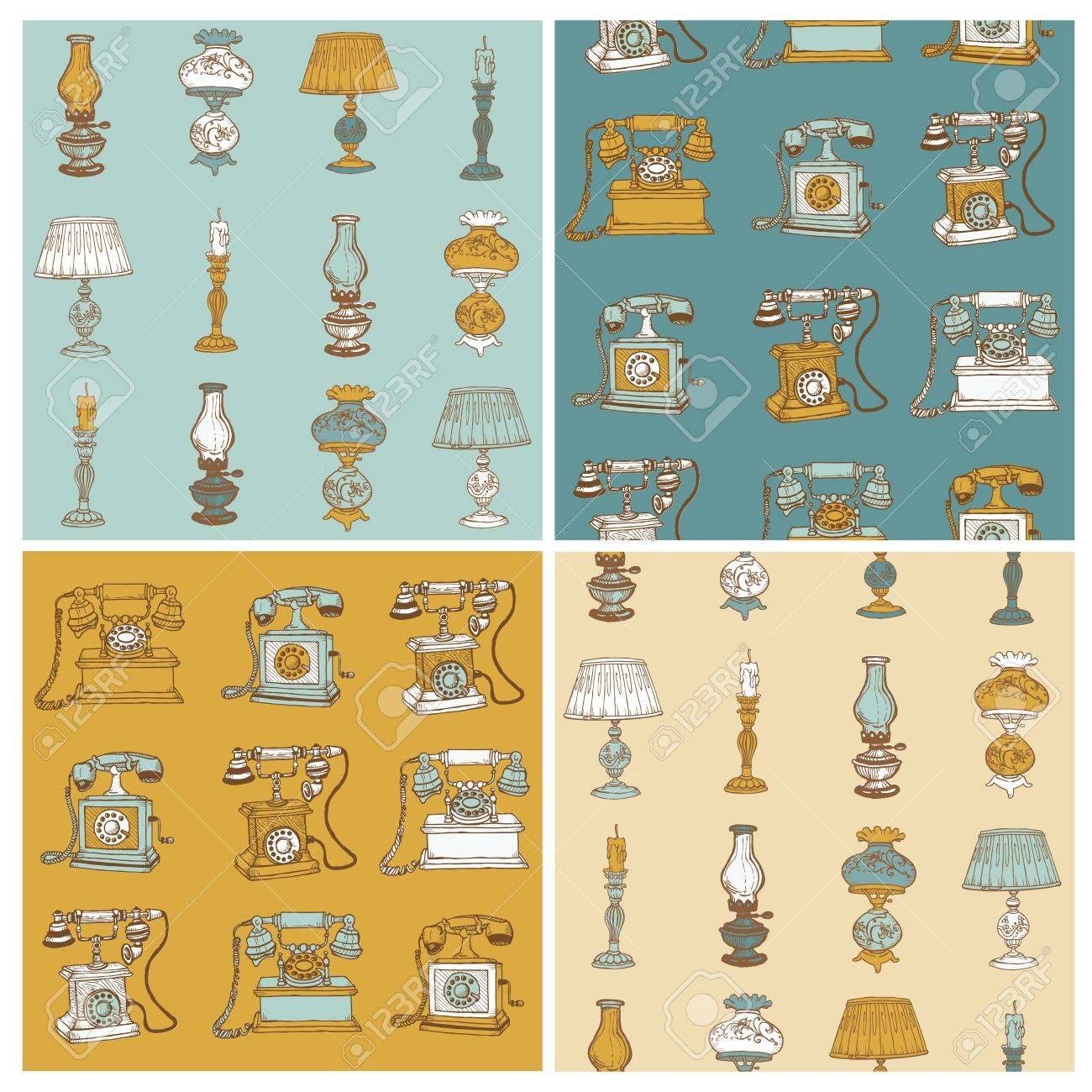 Set of Seamless Backgrounds with Vintage Telephones and Lamps - hand drawn Stock Vector - 12185939