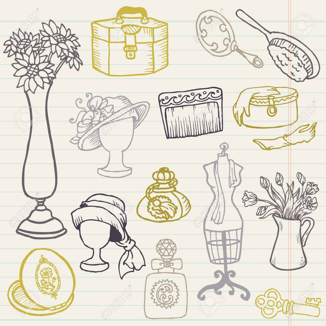 Set Of Fashion Hand Drawn Doodles For Your Design And Scrapbook
