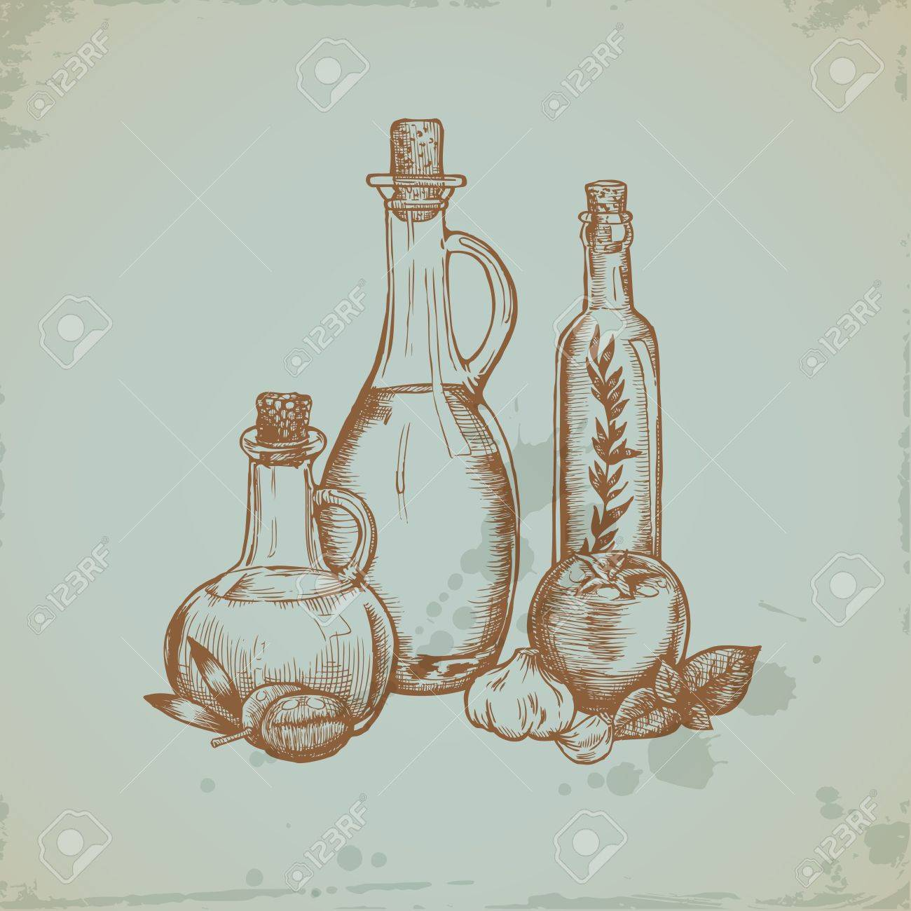Hand drawn Olive Oil in Glass Bottles. Still life illustration. Vector Stock Vector - 12482290