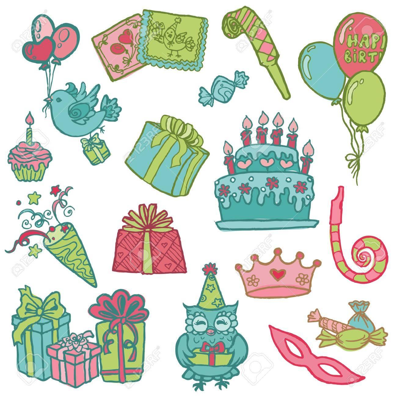 Hand drawn Birthday Celebration Design Elements - for Scrapbook, Invitation in vector Stock Vector - 12482354