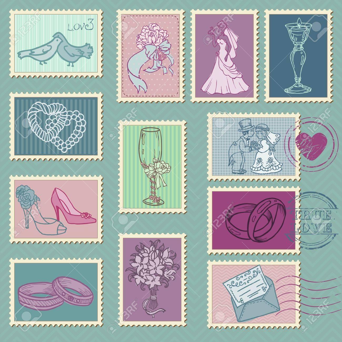 stock illustration vintage postcard background and postage wedding postage stamps Vintage postcard background and Postage Stamps for wedding car Stock Vector