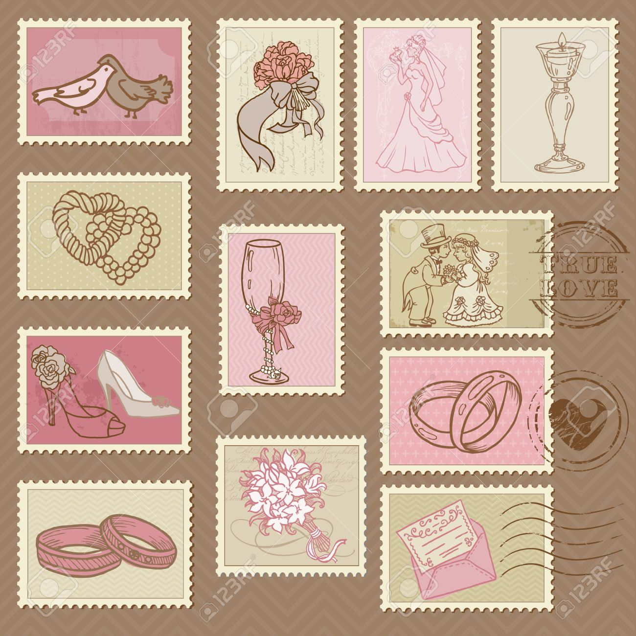 Wedding Postage Stamps In Vector Royalty Free Cliparts, Vectors, And ...