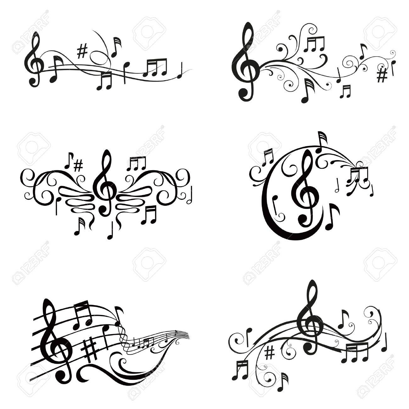 ミュージカル ノート イラスト ベクトルのセットのイラスト素材