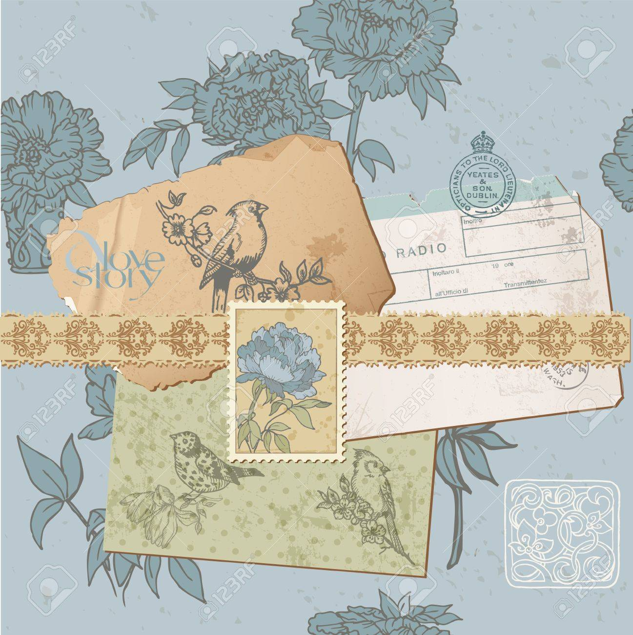 Scrapbook design elements - Vintage Bird and Peony Set - in vector Stock Vector - 12984241