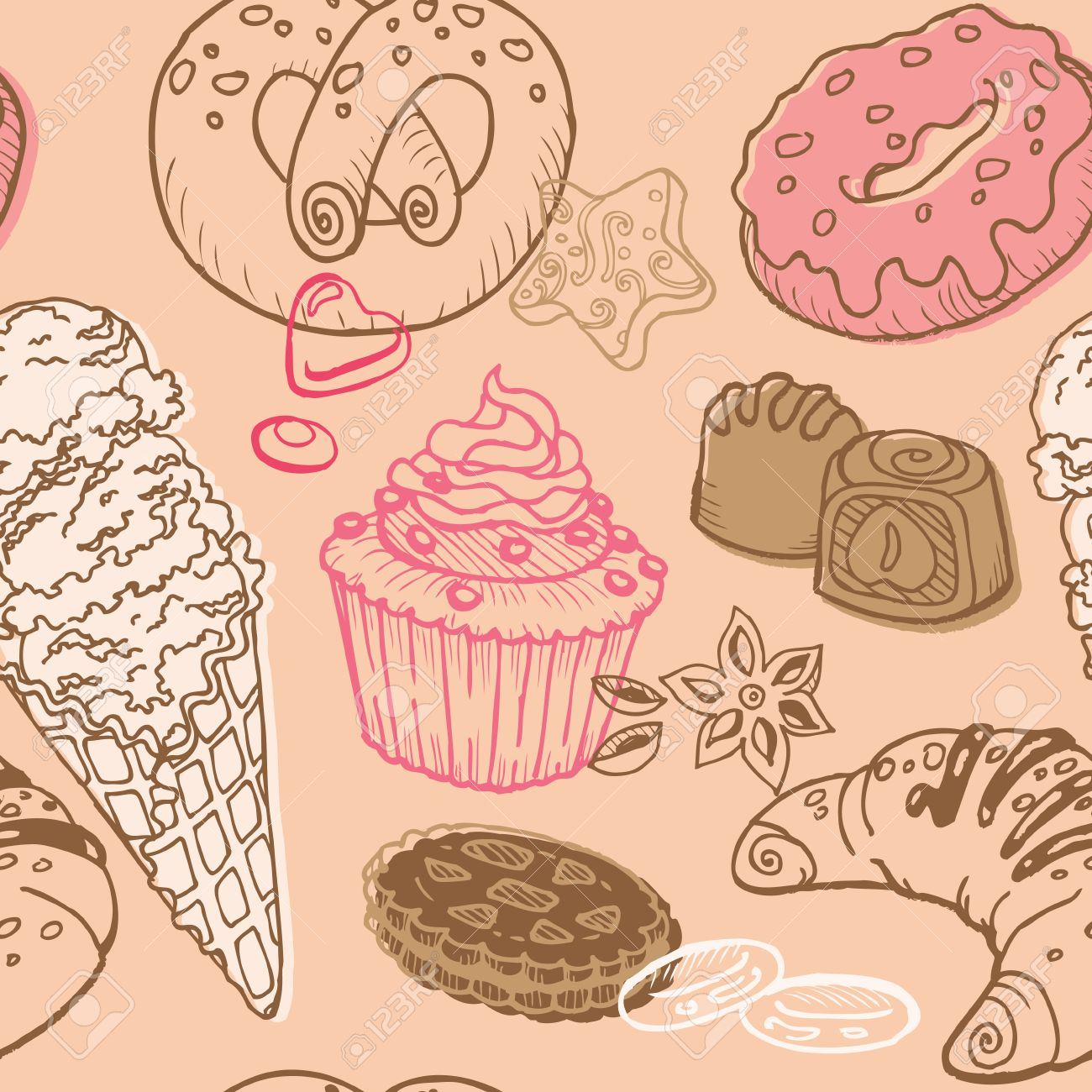 Seamless Background with Cakes, Sweets and Desserts - in vector Stock Vector - 12984231