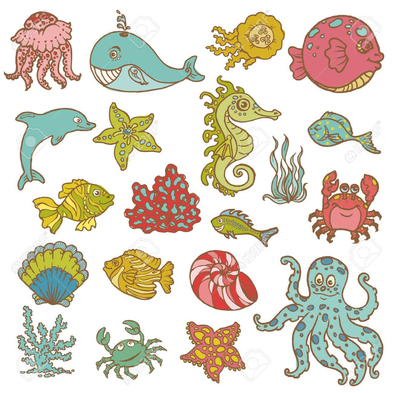 Marine life doodles - Hand drawn collection in vector Stock Vector - 13101906