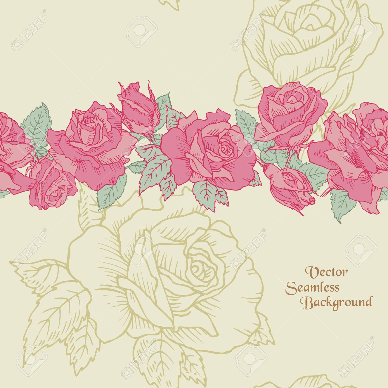 Seamless Flower Background - Hand Drawn Roses in vector Stock Vector - 13166211
