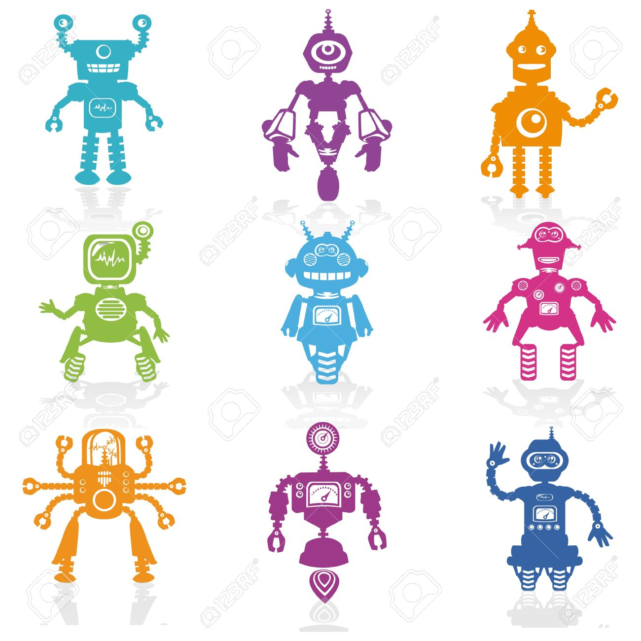 Set of Icons -Cute Little Robots Collection Stock Vector - 13359156