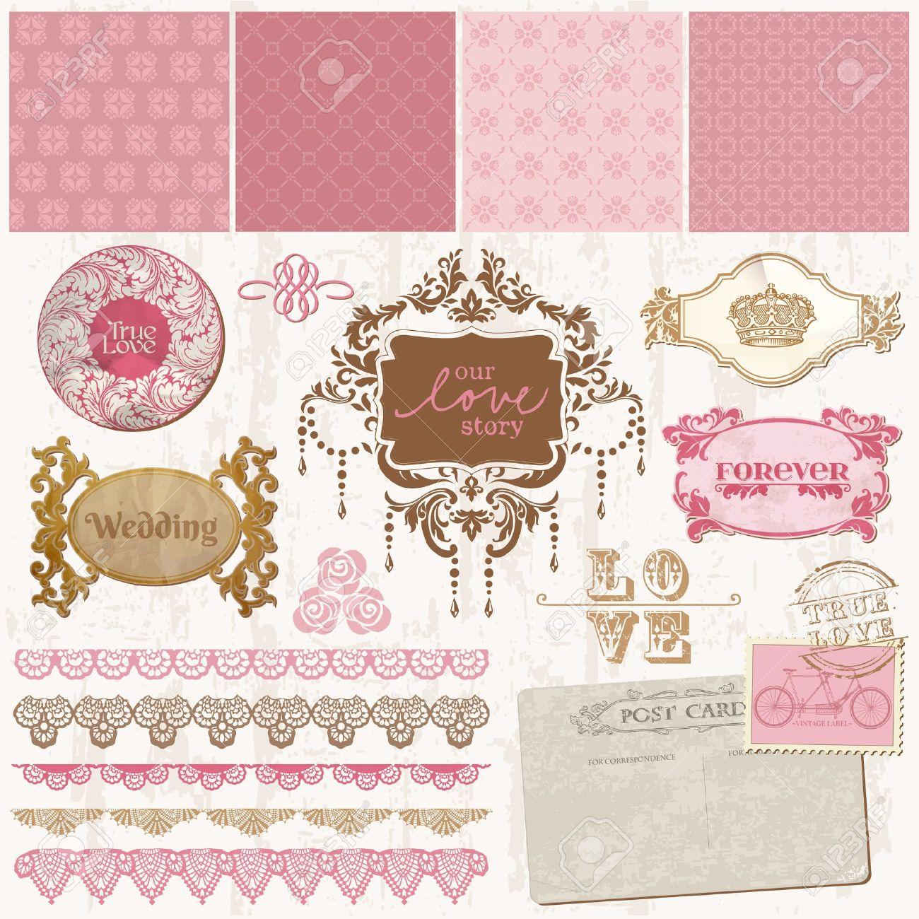 Scrapbook design elements - Vintage Wedding Set - in vector Stock Vector - 13484893