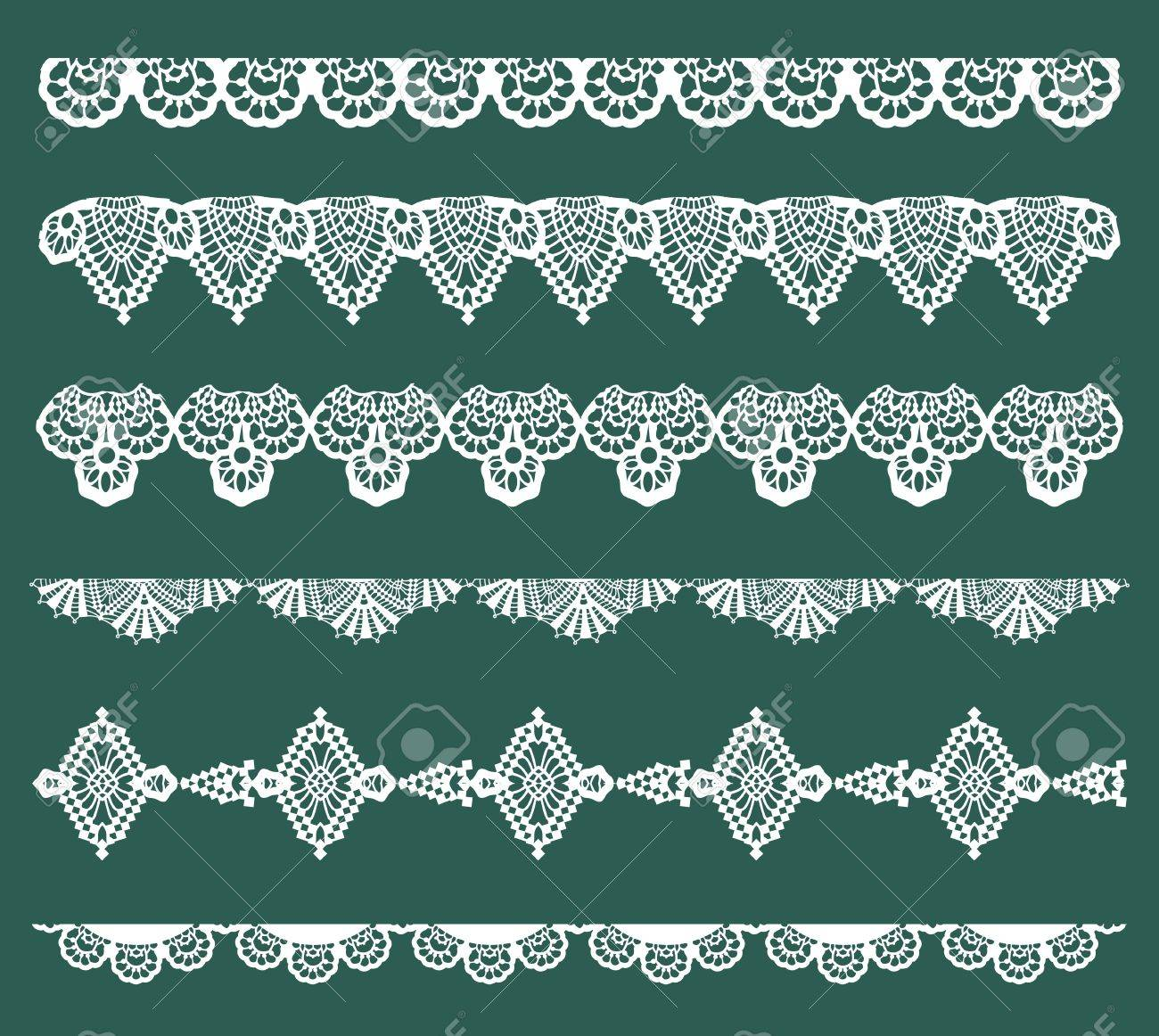 Set of Lace Ribbons - for design and scrapbook - in vector - 13484882