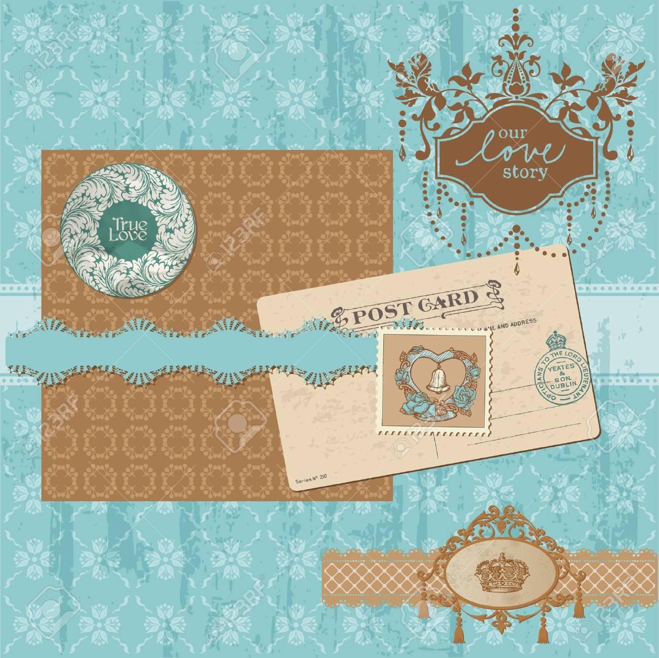 Scrapbook Design Elements Vintage Wedding Set In Vector Royalty