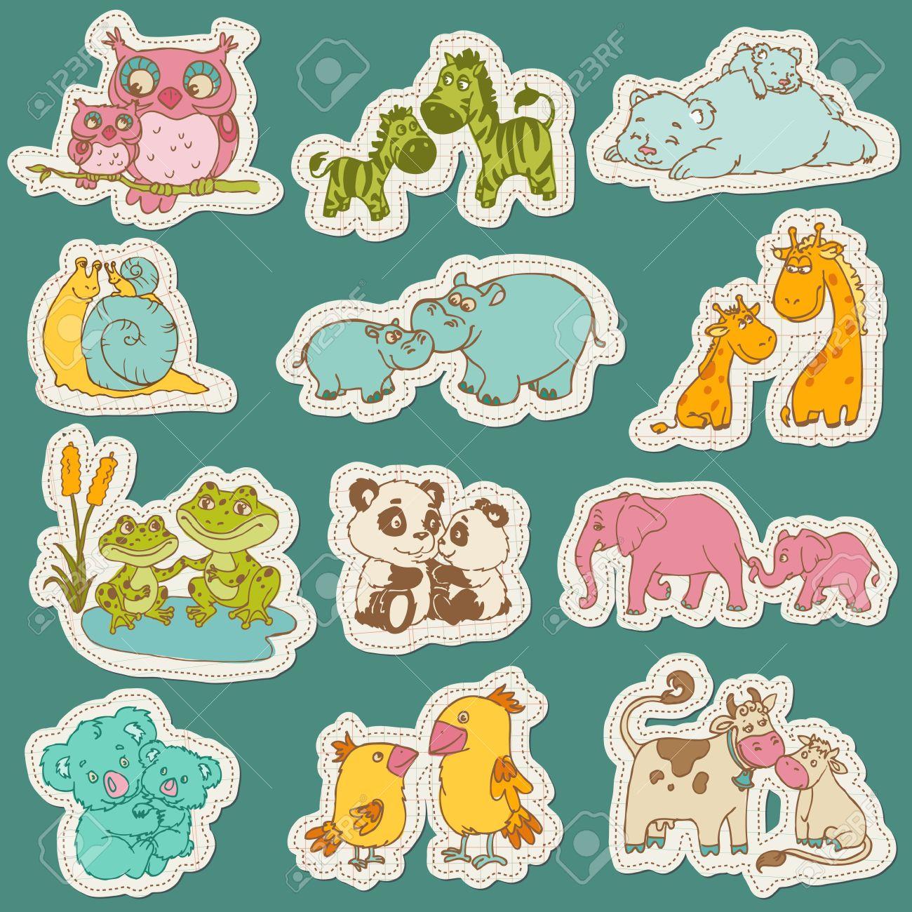 beb y el juego de animales mam de etiquetas de papel para el diseo y