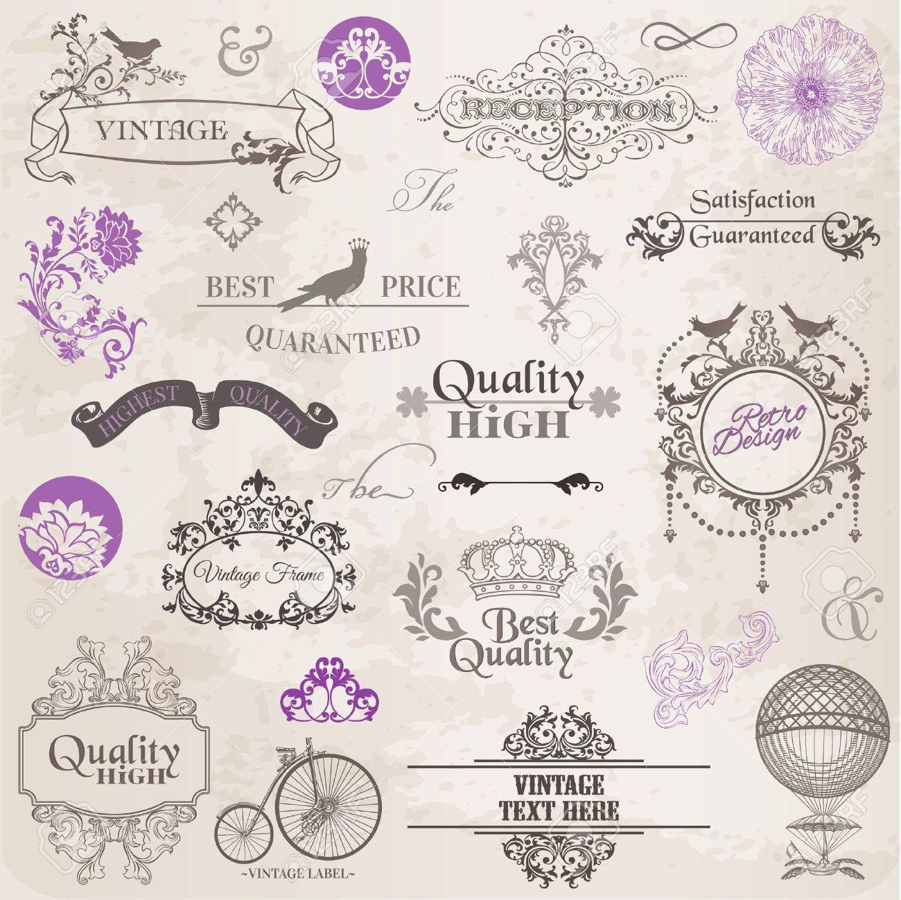 Vector Set  Calligraphic Design Elements and Page Decoration, Vintage Frame collection with Flowers Stock Vector - 13663897