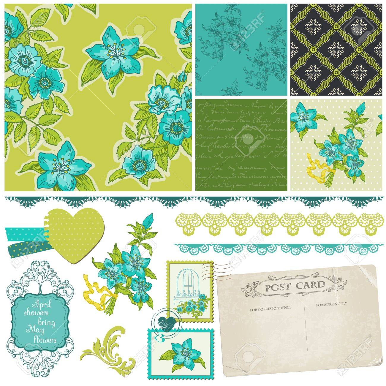 Scrapbook Design Elements - Blue Flowers Stock Vector - 13777496