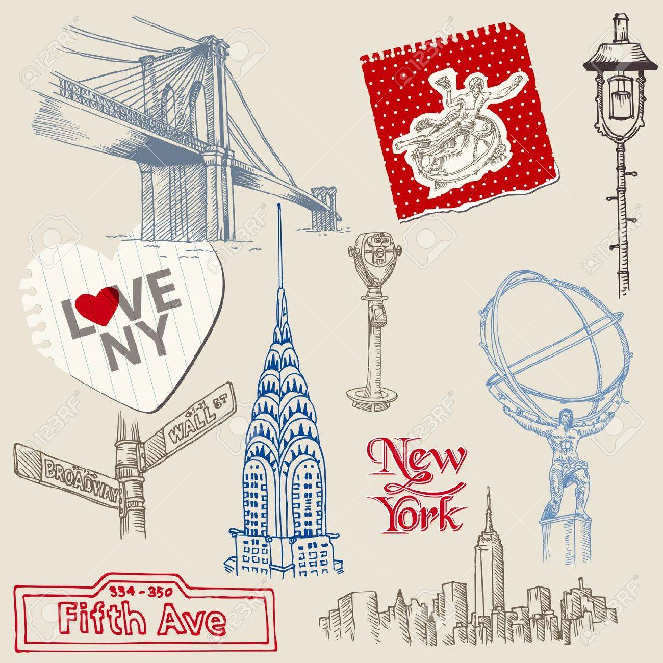 Scrapbook Design Elements - New York Doodle Set Stock Vector - 14047859