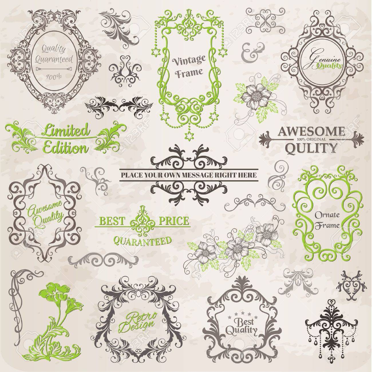 Calligraphic Design Elements and Page Decoration, Vintage Frame collection with Flowers Stock Vector - 14269225