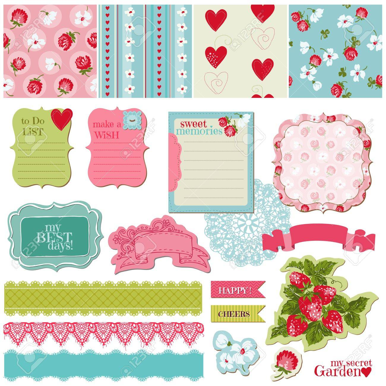 Scrapbook Design Elements - Vintage Flowers and Strawberry Set - in vector Stock Vector - 14460642