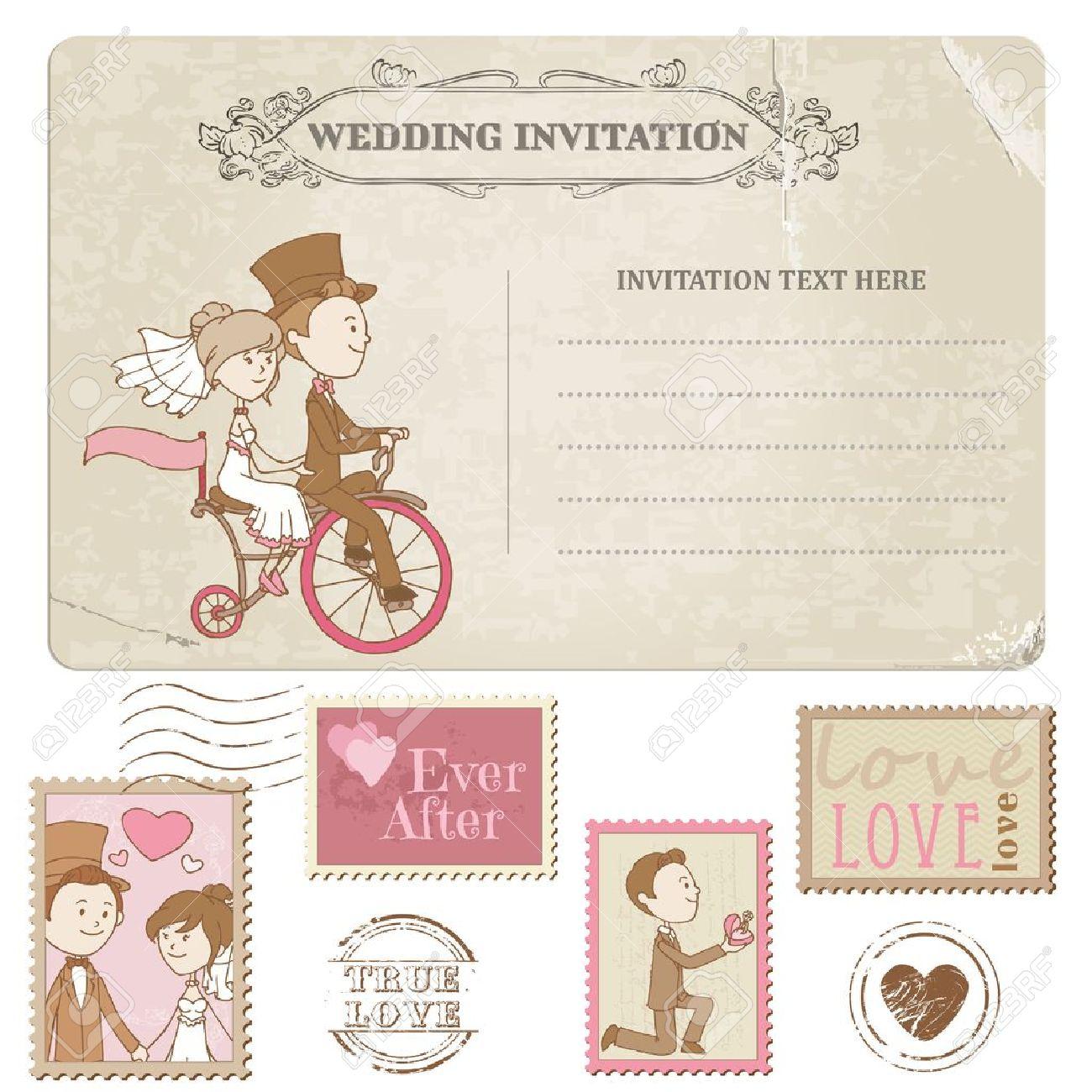 Wedding Postcard and Postage Stamps - for wedding design, invitation, congratulation, scrapbook Stock Vector - 14460645