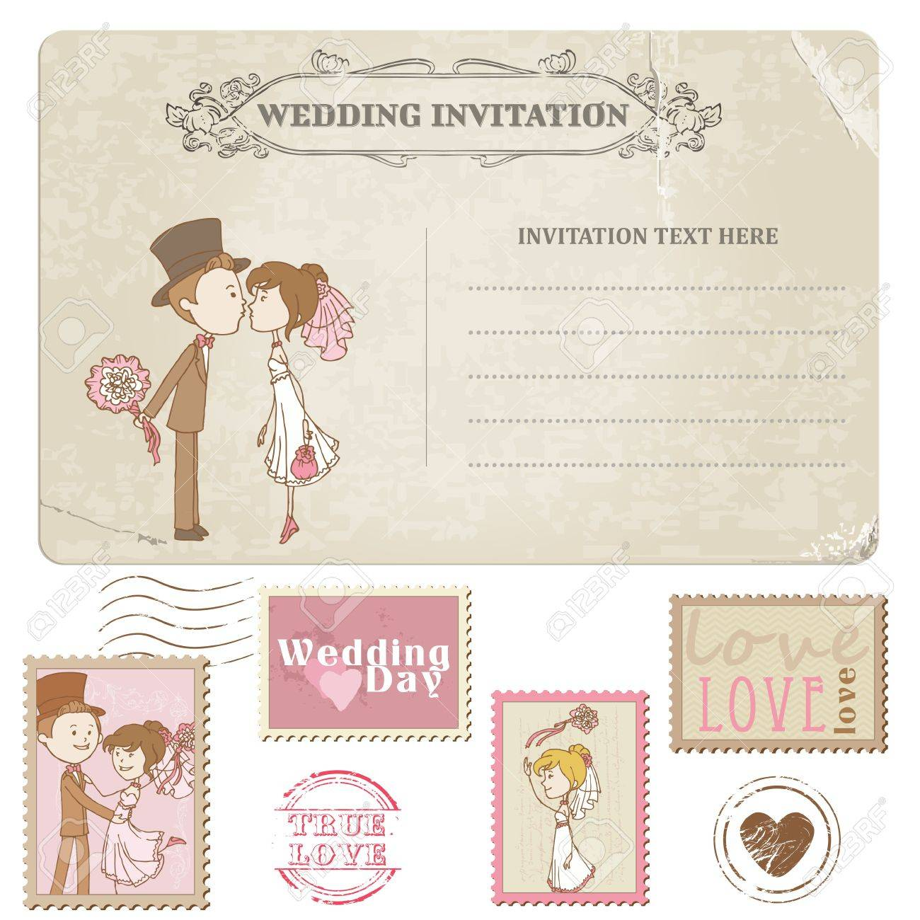 Wedding Postcard And Postage Stamps   For Wedding Design, Invitation,  Congratulation, Scrapbook Stock
