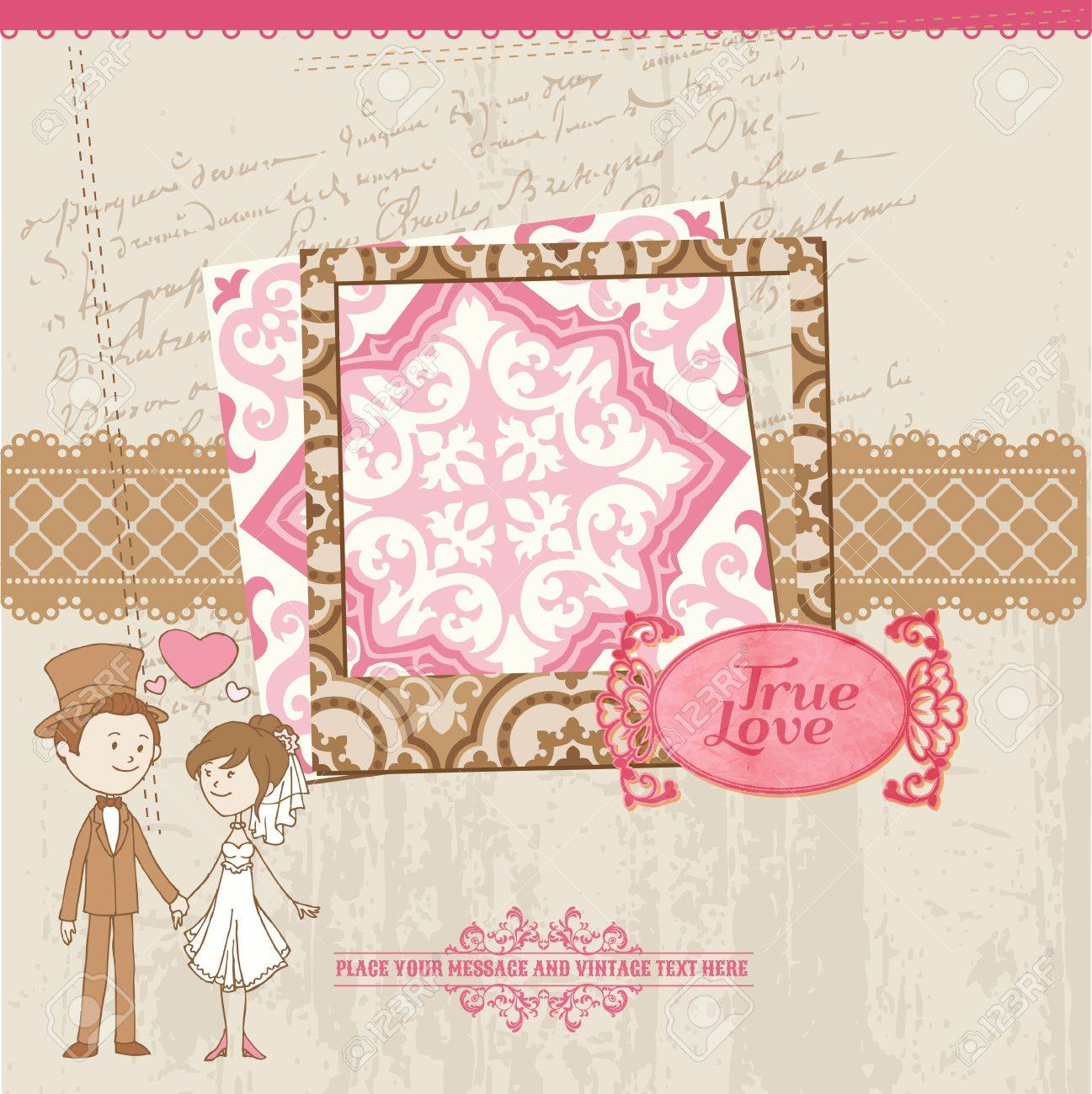 Wedding Scrapbook Card - for wedding design, invitation, congratulation, scrapbook - in vector Stock Vector - 14460639