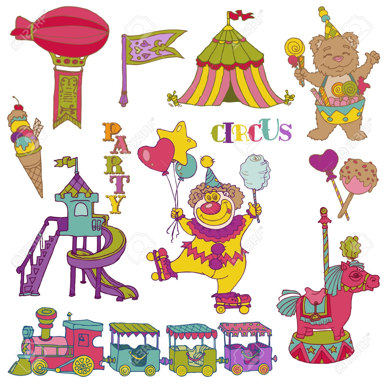 Vintage Circus Elements - hand drawn doodles Stock Vector - 14607335