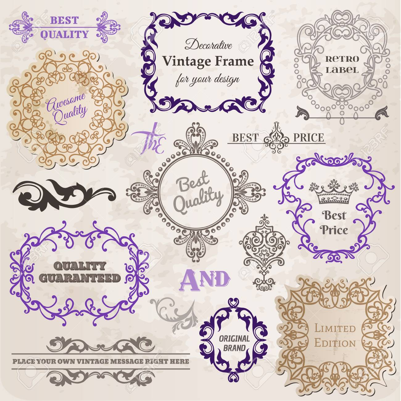 Set: Calligraphic Design Elements and Page Decoration, Vintage Frame collection with Flowers Stock Vector - 14781425