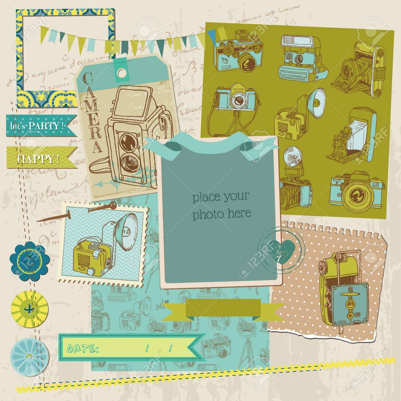 Scrapbook Design Elements - Vintage Photo Camera Scrap Stock Vector - 14896181