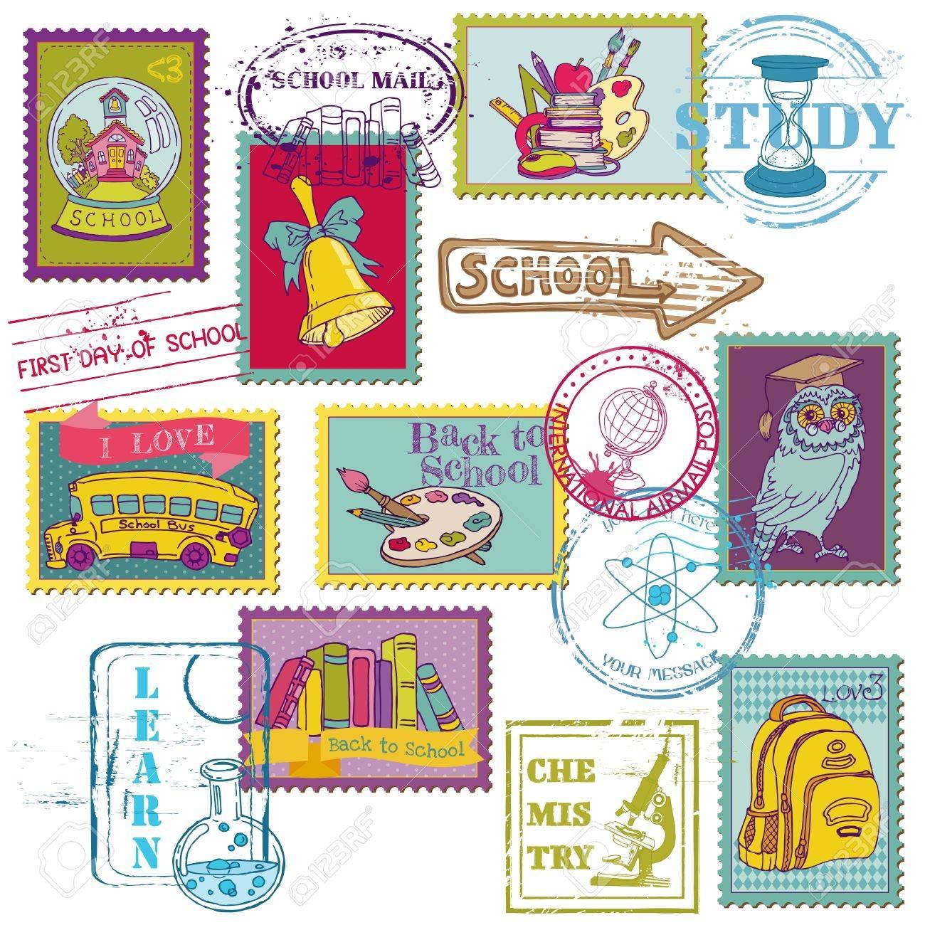 Set of SCHOOL stamps - for design and scrapbook Stock Vector - 14989918