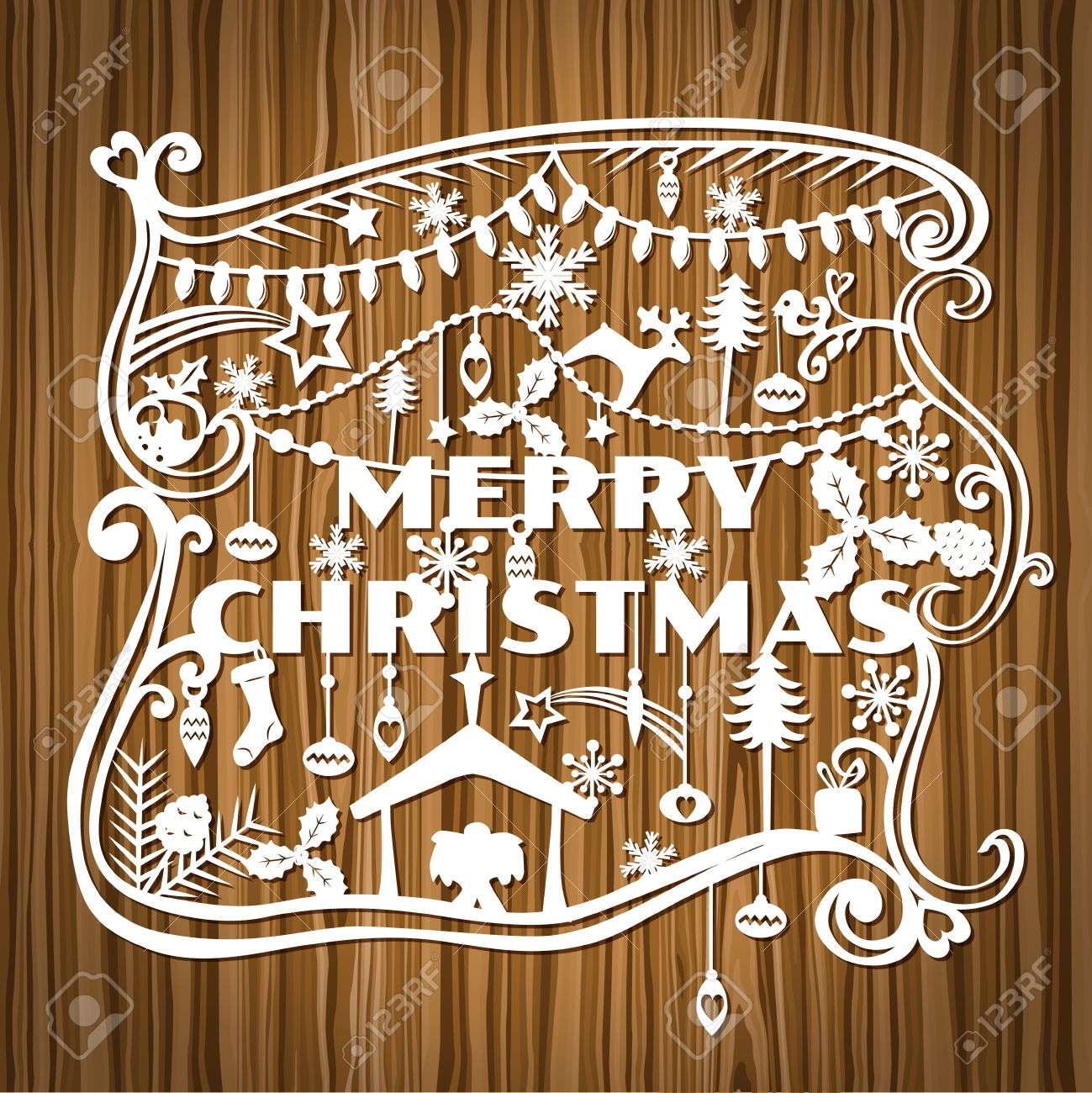 Merry Christmas Greeting Card - paper cut style Stock Vector - 15120269