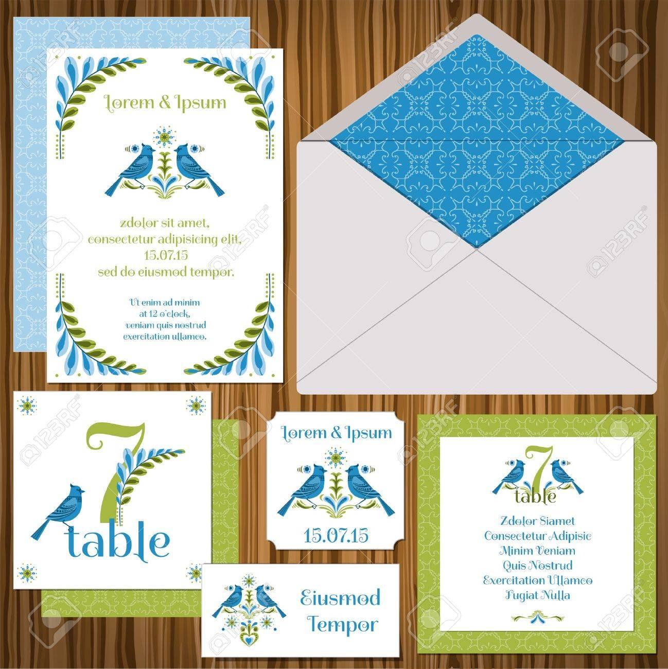 Wedding Invitation Card Set -Vintage Birds- Invitation, Table ...