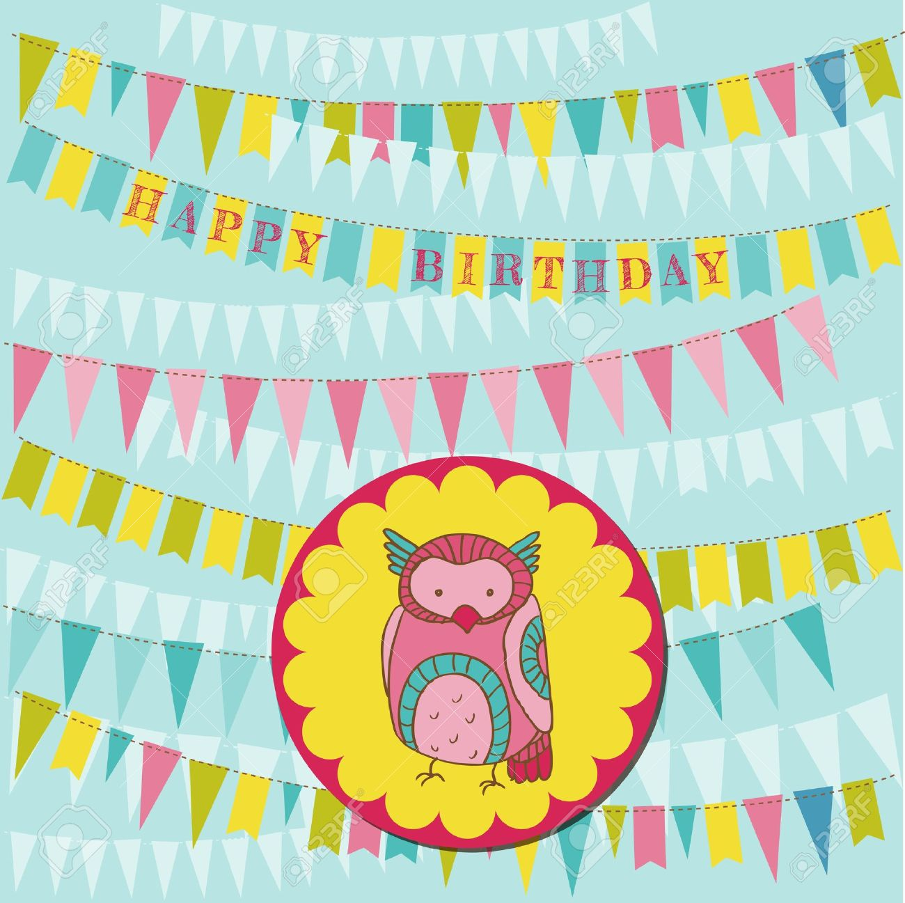 Happy Birthday Card with Cute Owl Stock Vector - 15120315