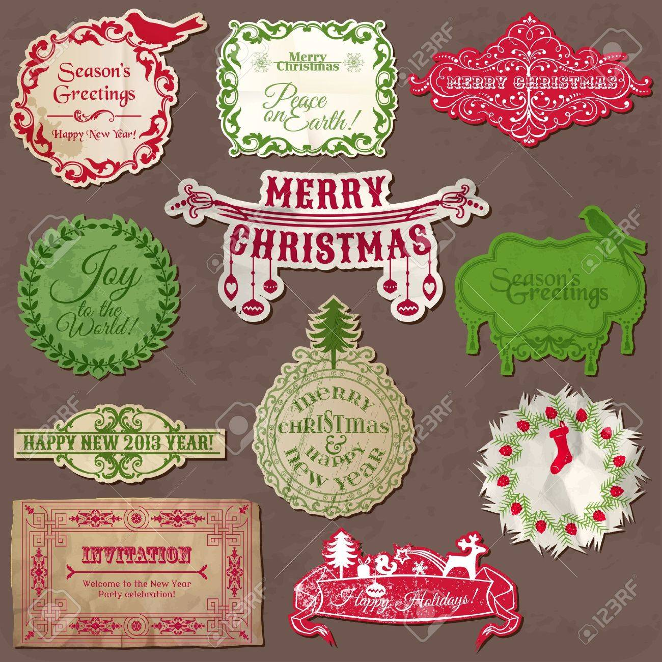 Christmas Calligraphic Design Elements and Vintage Frames Stock Vector - 15356356