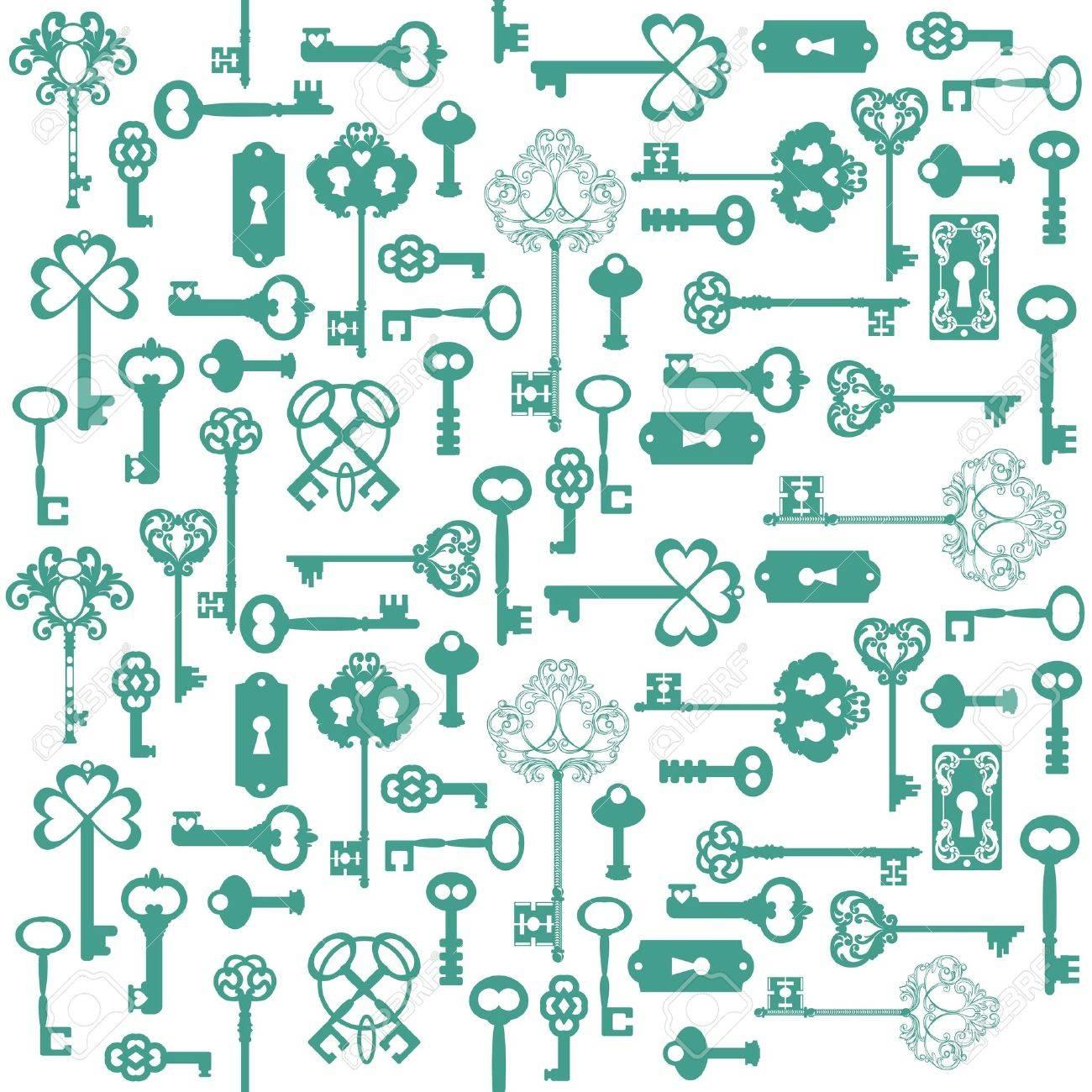 Antique Keys Background - for your design or scrapbook - Stock Vector - 15356320