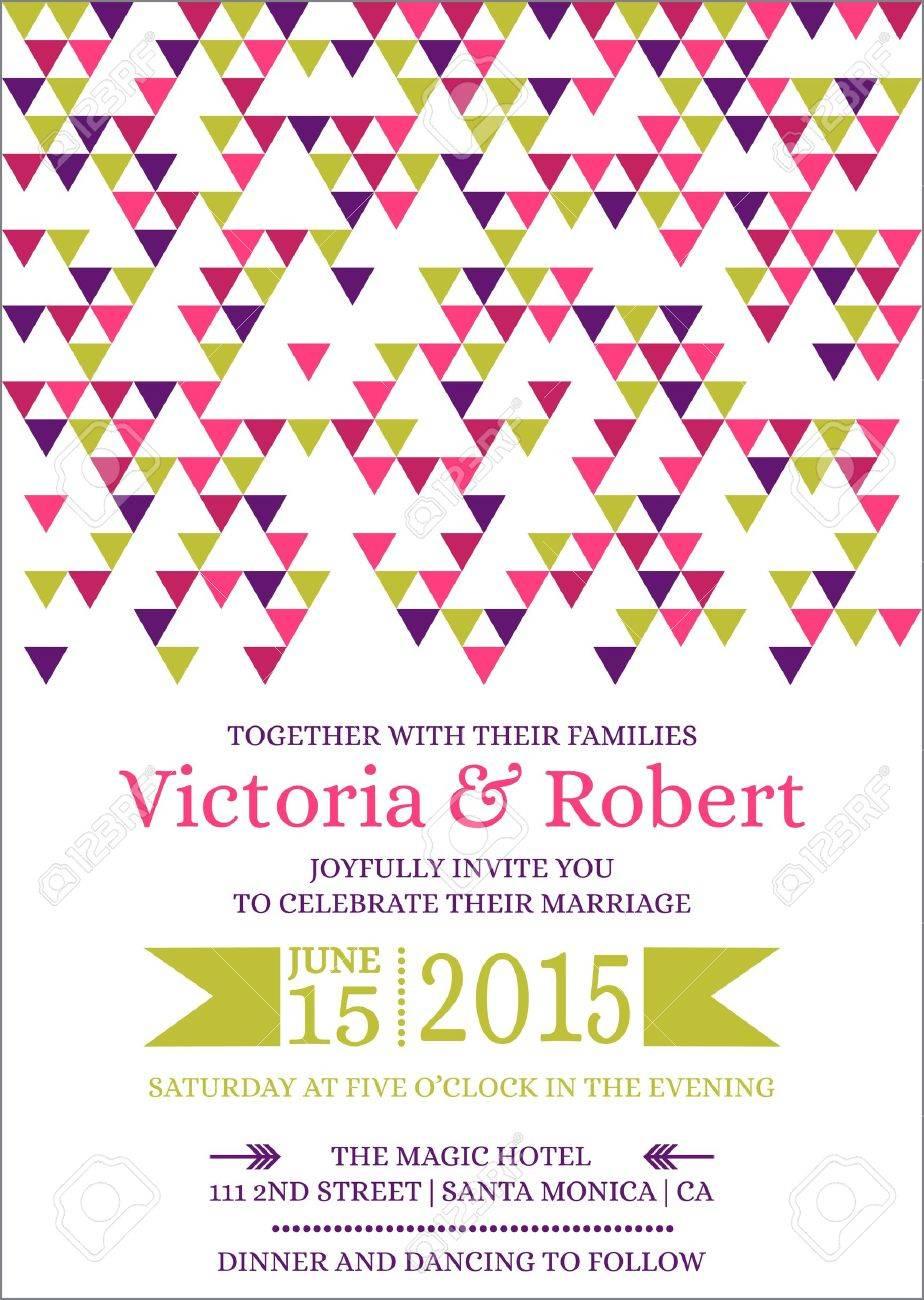 Wedding Colorful Invitation Card Stock Vector - 15356312