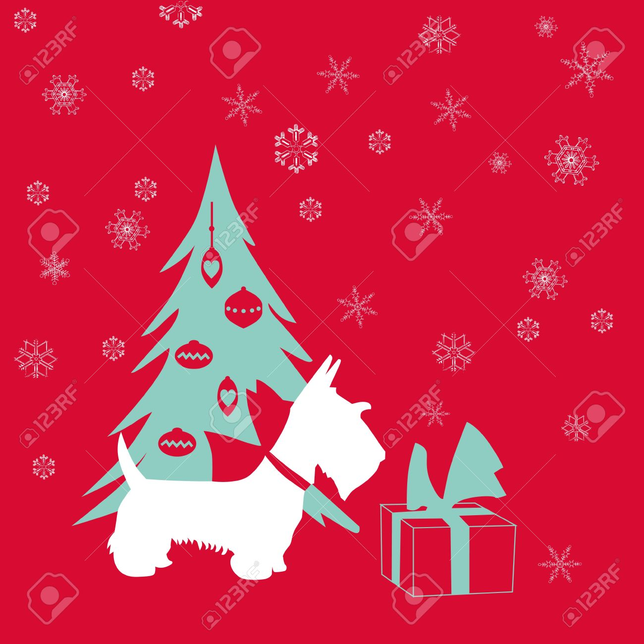 Cute Christmas Card - Scottish Terrier With Present Royalty Free ...